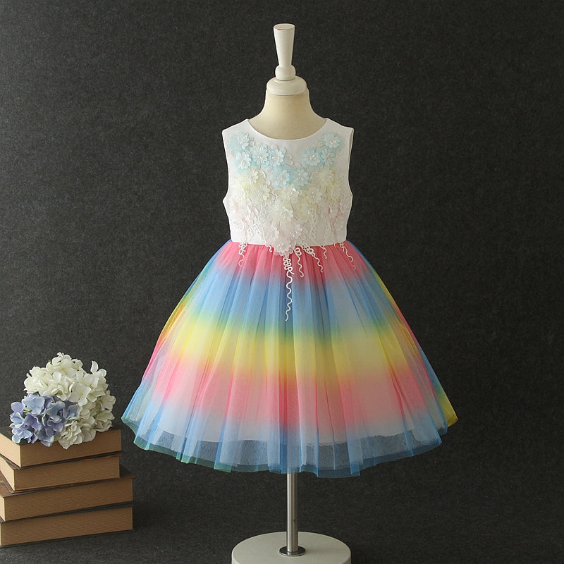 Girl Flower Lace Rainbow Skirt Princess Tutu Wedding Dress