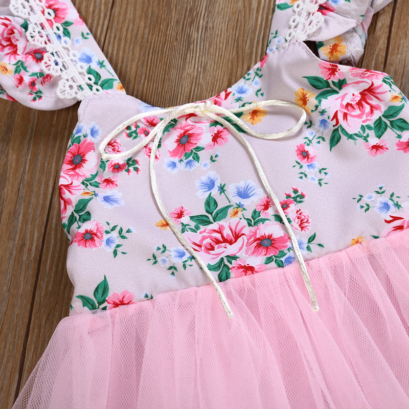 Girl's Sweet Flower Girl Wedding Dress Mesh Suspender Princess Tutu