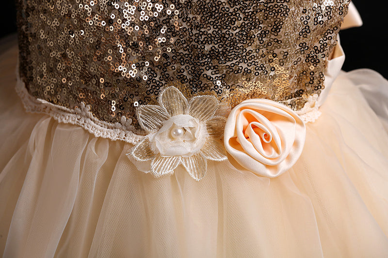 Flower Girl Princess Sequin Flower Tutu Wedding Dress