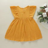 Toddler Girls Embroidered Solid Color Cotton Linen Lovely Dress