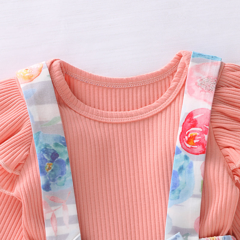 Toddler Girls Knitted Top Cartoon Flowers Strap Skirt