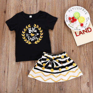 Fashionable Girls Black Print Top Bow Striped Polka Dot Skirt