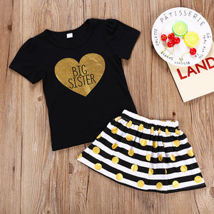 Fashionable Girls Black Print Top Striped Polka Dot Skirt