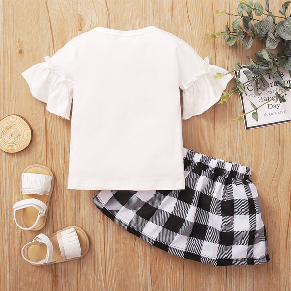 Baby Girls I Love You Plaid Flared Sleeve Top & Skirt baby clothes wholesale distributors