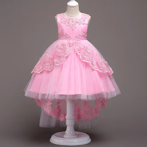 Girl Prom Dress Embroidered Dress Tail Princess Dress Host Dress