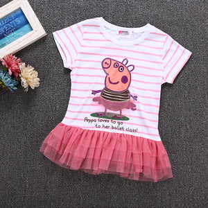 Girls Peggy Piggy Striped Cartoon Short Sleeve Top Mesh Princess Dress