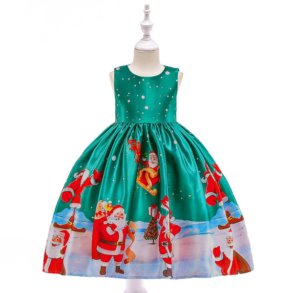Girls Christmas Dress Polka Dot Print Santa Tutu Princess Dress