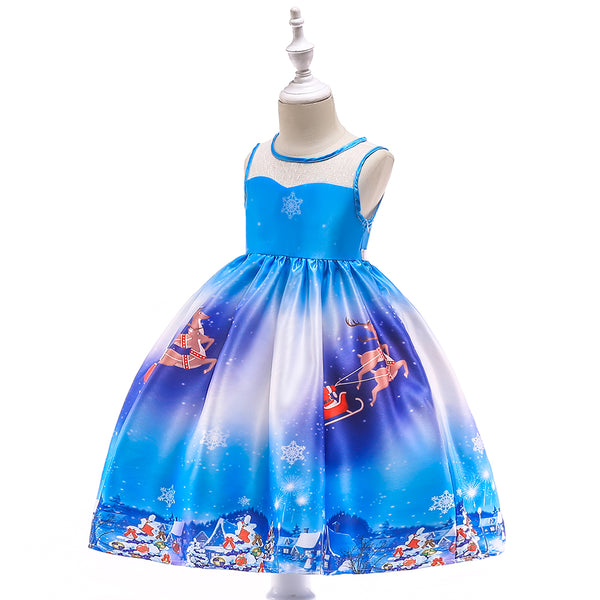 Girls Christmas Dress Satin Print Santa Tutu Princess Dress