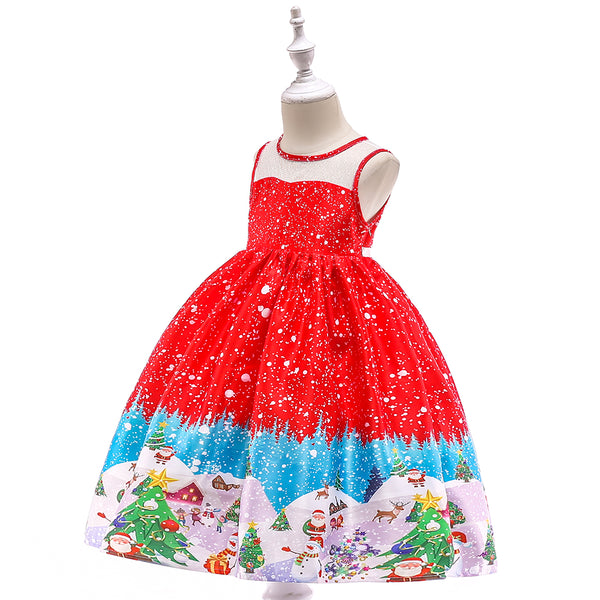 Girls Christmas Dress Snowflake Print Tutu Princess Dress