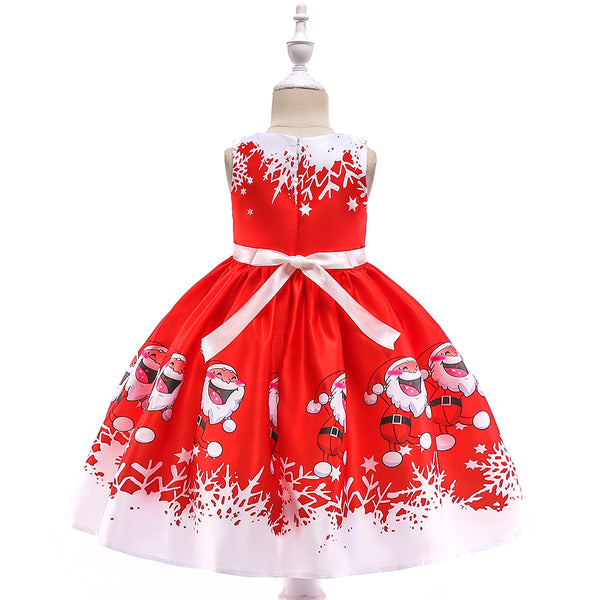 Girls Christmas Dress Print Santa Tutu Princess Dress Girl Dress