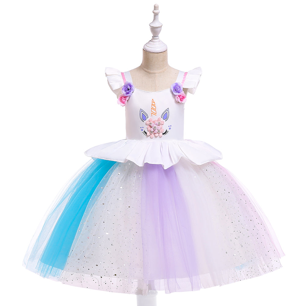 Girl Prom Dress Flying Sleeve Unicorn Princess Dress Mesh Sequin Dress