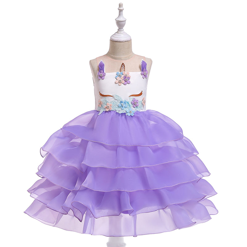 Christmas Girl Prom Cartoon Unicorn Mesh Dress