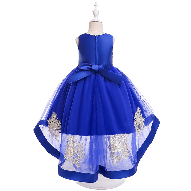 Girls Prom Evening Dress Embroidered Tail Princess Skirt