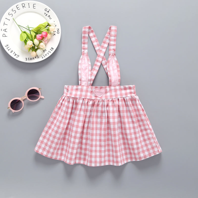 Baby Girls Solid Color Top & Plaid Heart Print Suspender Skirt
