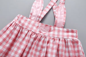 Baby Girls Cute Solid Color Top And Plaid Heart Print Suspender Dress