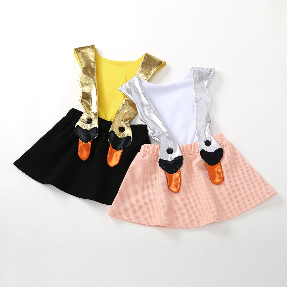 Toddler Girls Fashion Swan Shape Suspender Dress Cute Princess Dress