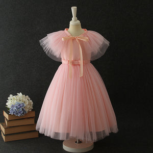 Girls Party Long Dress Mesh Tutu Skirt Open Back Skirt Cape Detachable