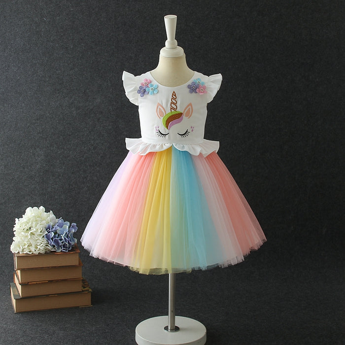 Girls Party Dress Rainbow Mesh Princess Dress Unicorn Dress
