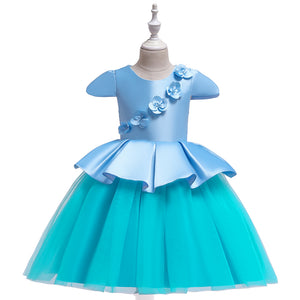 Girl Dress Satin Princess Dress Mesh Color Matching Tutu Dress
