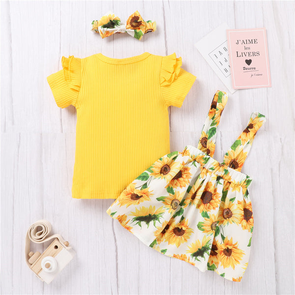 Baby Girls Short Sleeve Yellow Shorts & Sunflower Suspender Skirt & Headband Baby Clothing Cheap Wholesale
