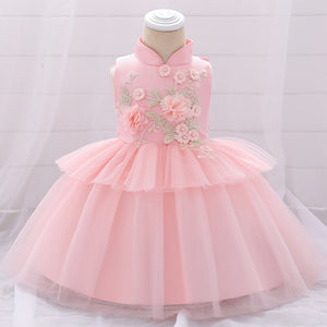 Chinese Style Baby Girl Dress Mesh Cake Skirt Flower Girl Dress