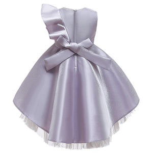 Girls Party Dress Sequin Wedding Dress One Shoulder Ruffle Girl Dress