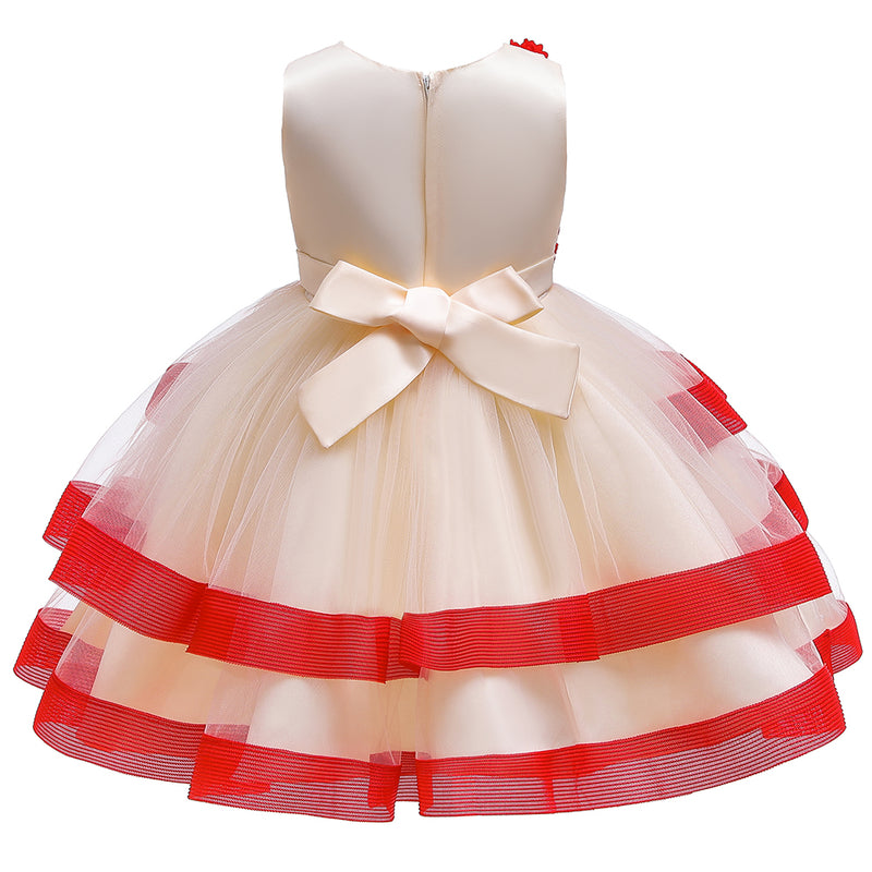 Beautiful Girl Princess Contrast Stripe Cake Dress