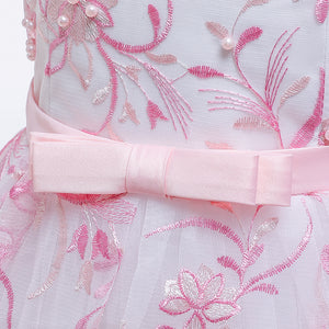 Girls' Wedding Dress Skirts Embroidered Long Dress Bow Princess Dress