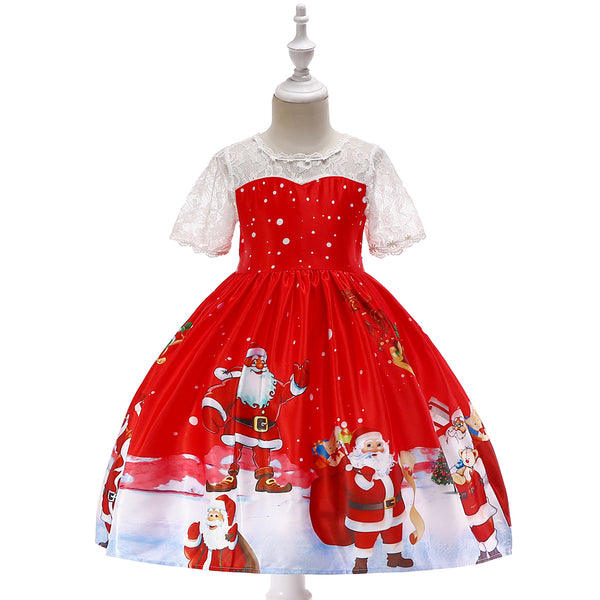 Girls Christmas Dress Print Santa Tutu Skirt Lace Princess Dress