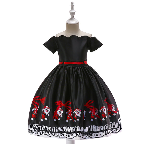 Girls' Christmas Dress Black Print Dress Off Shoulder Princess Dress