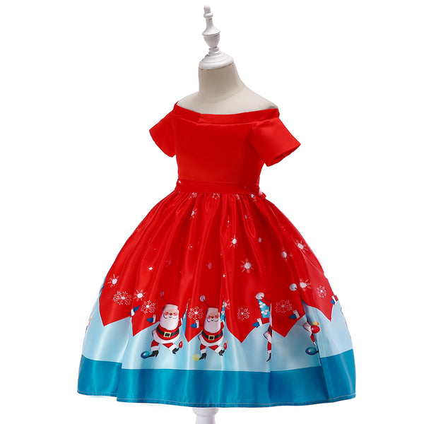 Girls' Christmas Dress Off Shoulder Short Sleeve Princess Dress