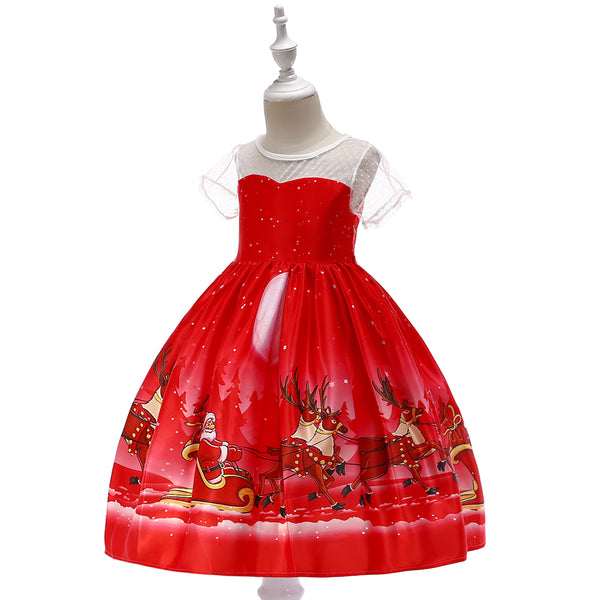 Girls Christmas Dress Snowflake Print Santa Tutu Princess Dress