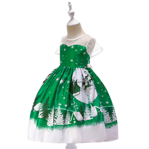 Girls Christmas Dress Printed Santa Tutu Short Sleeve Princess Dress