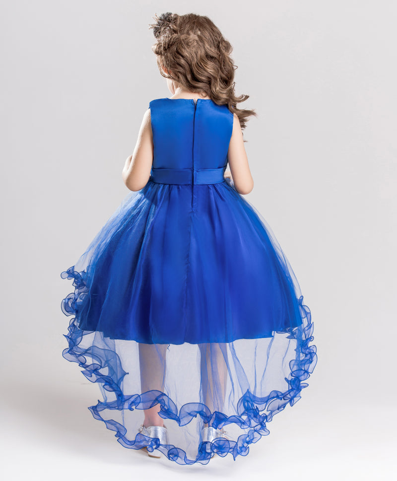 Girl's Tail Dress Mesh Skirt Wedding Tutu Skirt Blue Catwalk Dress