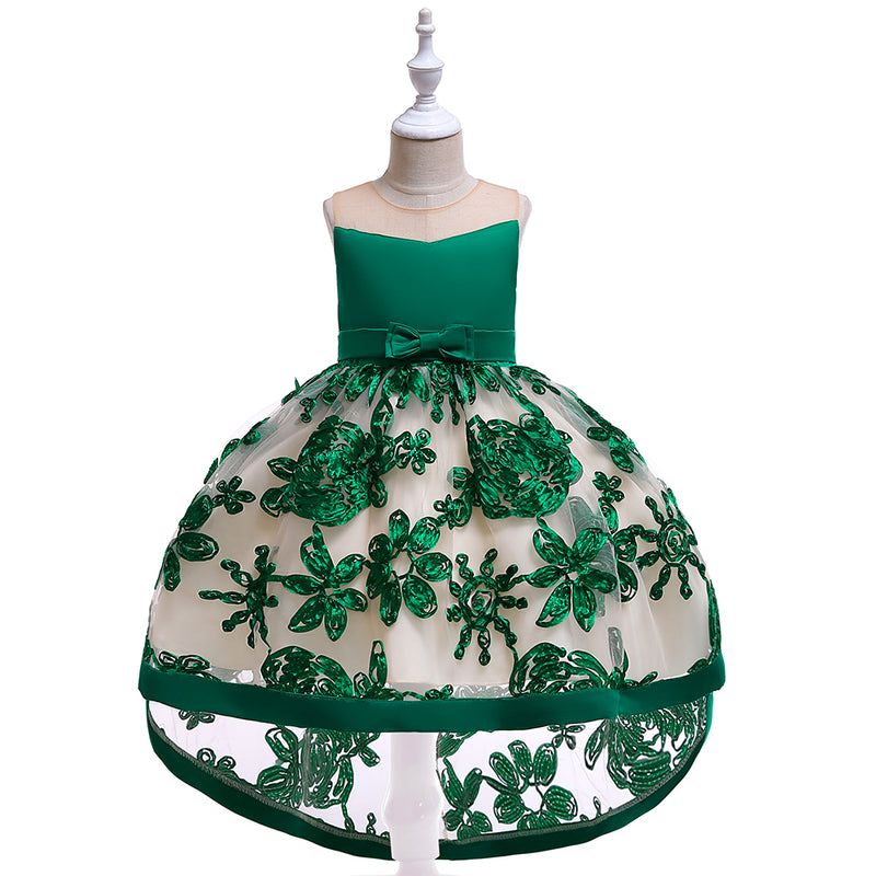 Flower Girl Embroidered Mesh Tail Dress