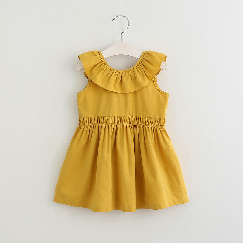 Cute Girls Sleeveless Doll Collar Solid Color Backless Dress
