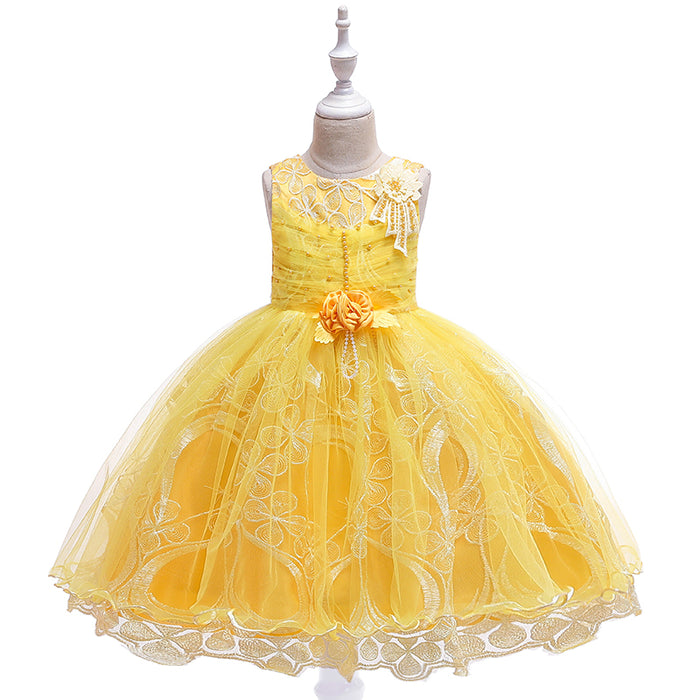 Girls Party Dress Embroidered Princess Skirt Flower Girl Wedding Dress