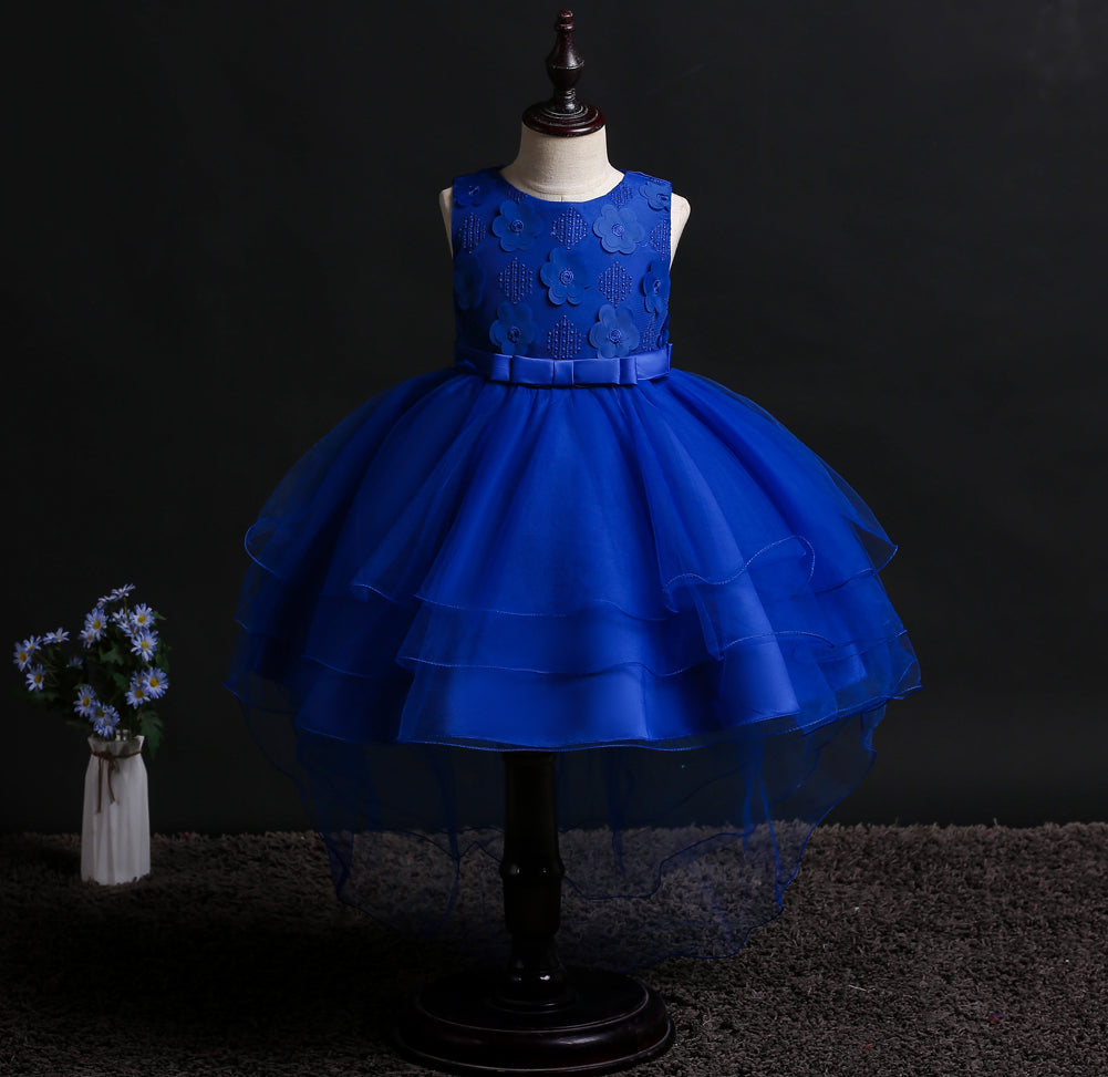 Girl Prom Dress Solid Color Princess Dress Trailing Tutu Dress
