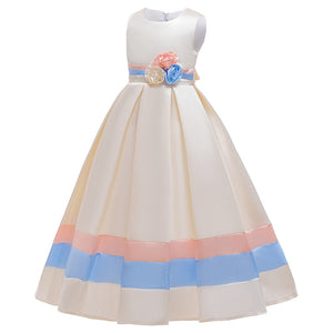 Girls' Prom Dress Princess Dress Floor Long Dress Contrast Strip Dress