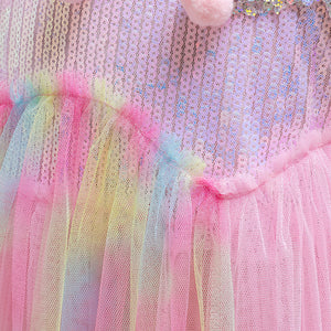 Girls' Dress Flying Sleeve Unicorn Dress Girls' Performance Clothes