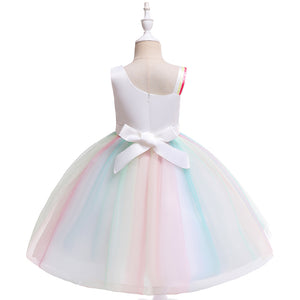 Girls Mesh Dress Unicorn Rainbow Dress Sloping Shoulder Princess Skirt