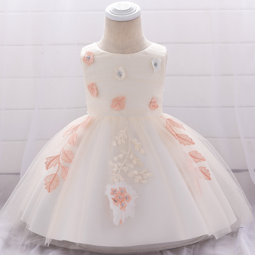 Baby Girl Flower Girl Embroidered Princess Skirt Girl Wedding Dress