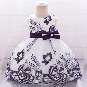 Baby Girl Flower Embroidered Tutu Princess Skirt Bow Girl's Dress