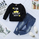 Boys I'm A Little Hero Long Sleeve Top & Ripped Jeans British School Boy