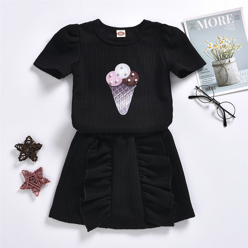 Girls Ice Cream Printed Short Sleeve Top & Skirts Girls Clothing Wholesale