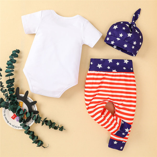 Baby Unisex Independence Day Letter Printed Short Sleeve Romper & Pants & Hat wholesale baby clothing