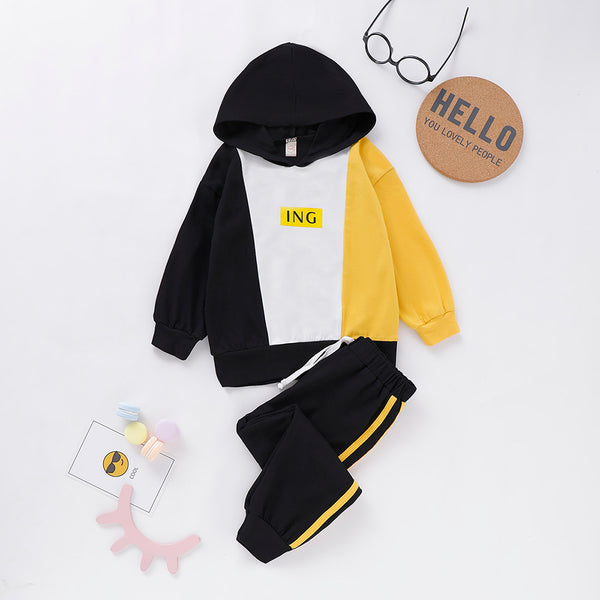 Unisex Ing Color Contrast Long Sleeve Hooded Top & Pants Kids Wholesale Clothing