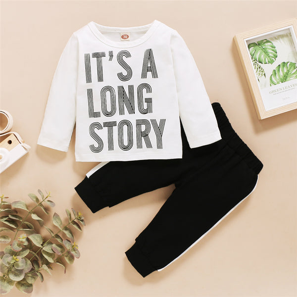 Baby It's A Long Story Printed Long Sleeve Top & Pants Cheap Boutique Baby Clothing