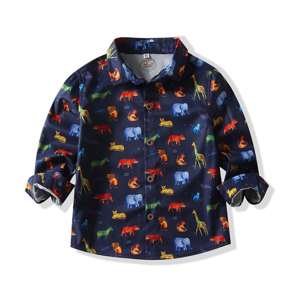 Boys Animal Forest Pattern Shirt Wholesale Toddler Boy Clothes