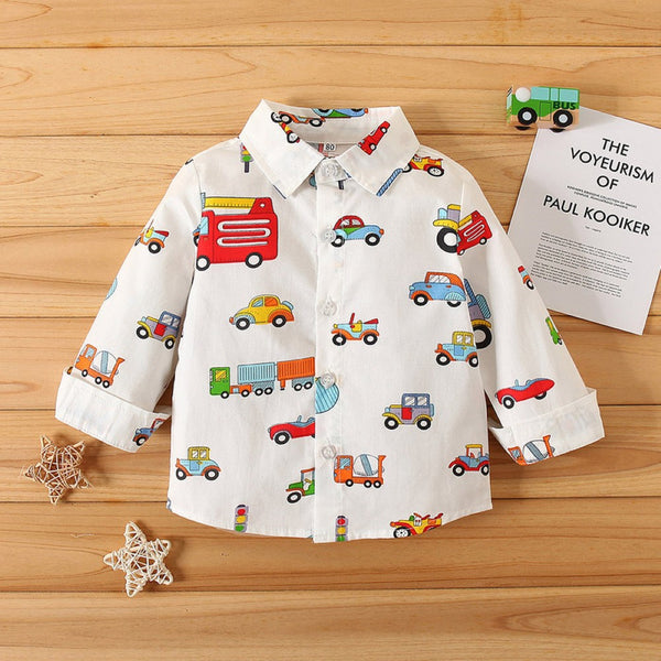 Boys Car Carrtoon Pattern Lapel Shirt Wholesale Boys Clothing